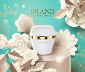 3d illustration cosmetic set ads and flowers background template vector