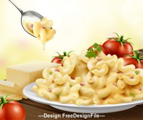 3d tomato and macaroni advertising illustration vector