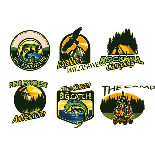 Adventure and Outdoor Activity Badges vector