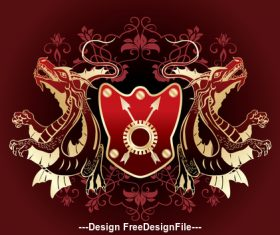 Animal and red heraldic vector