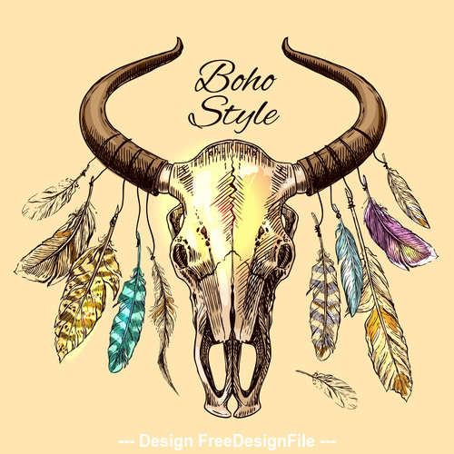 Animal skull decoration vector illustration