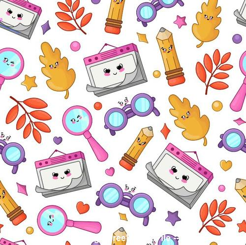 Autumn leaves and back to school seamless pattern vector