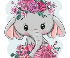 Baby elephant cartoon 3d illustration vector