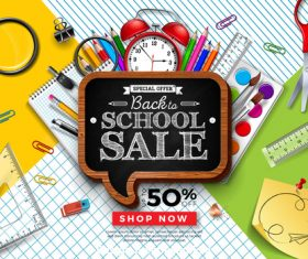 Back to school sale blackboard background vector