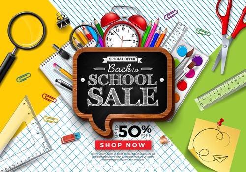 Back to school sale blackboard background vector