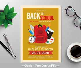 Back to school subjects flyers vector