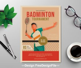 Badminton flyer design vector template