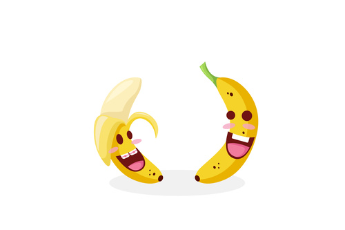 Banana funny cartoon emoticon vector