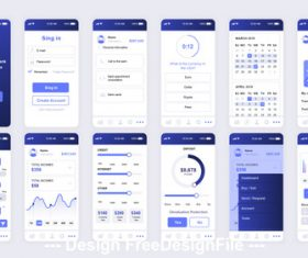 Banking Mobile App UI Kit vector