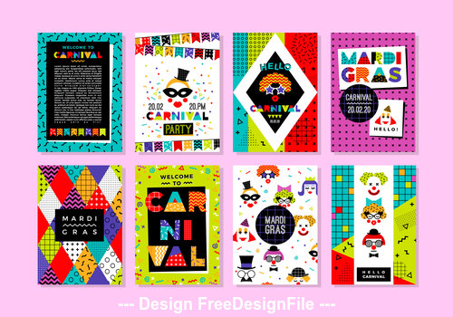 Banner Carnival Templates in Memphis Style vector