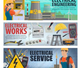 Banner Electrician professional vector