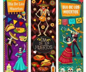 Banner cartoon Mexico dead day celebration vector