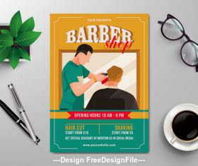 Barber shop subjects flyers vector