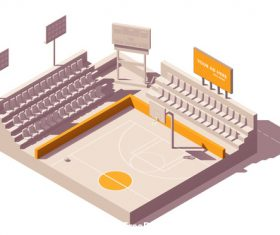 Basketball court building vector