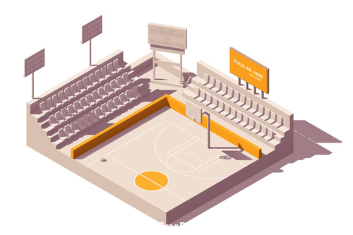 Basketball court building vector