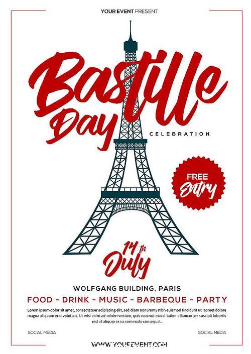 Bastille Day Flyer psd template