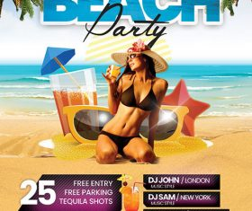 Beach Party Poster with flyer psd template