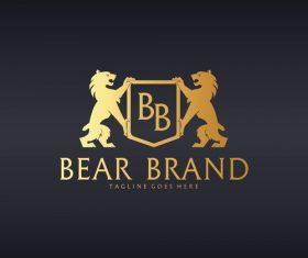 Bear brand logo gold vector