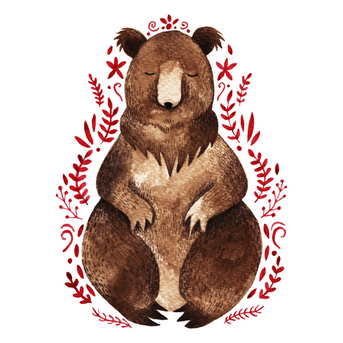 Bear hand drawn watercolor animals vector