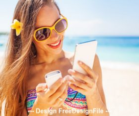 Beatiful girl with summer beach stock photo