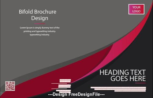 Bifold brochure and QR code design vector