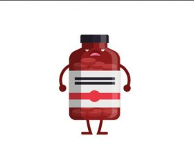 Big medicine bottle expression cartoon vector