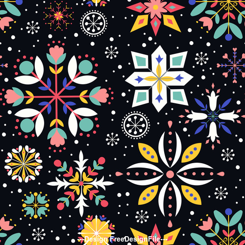 Black background floral vector seamless pattern