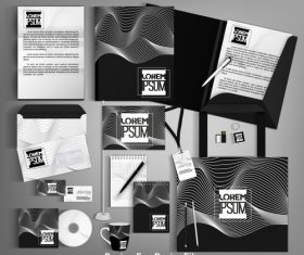 Black card brochure cover design vector