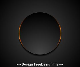 Black circle with orange glowing light background vector