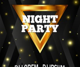 Black night party flyer template vector