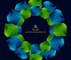 Blue and green square combination circle pattern vector