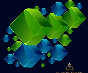 Blue and green squares vector illustration