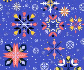 Blue background floral vector seamless pattern