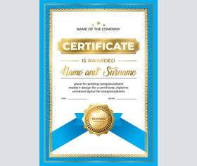 Blue border diploma vector illustration vector