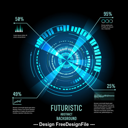 Blue disc futuristic hud vector background
