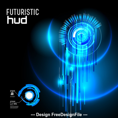 Blue futuristic hud vector background