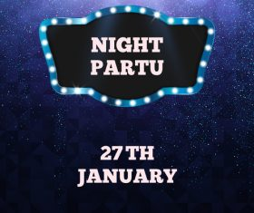 Blue night party flyer template vector