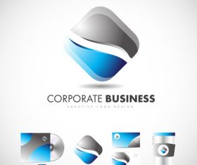 Blue rhombus corporate logo design vector