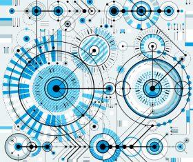 Blue round tech background pattern vector