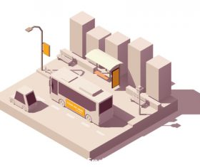 Bus stop 3D building vector