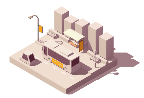 Bus stop 3D building vector