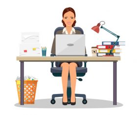 Business office female staff vector