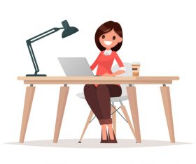 Business woman at the desk is working on the laptop computer vector