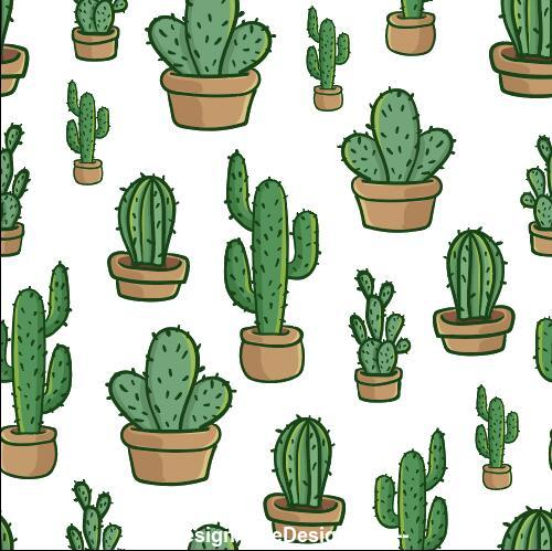 Cactus seamless background pattern vector