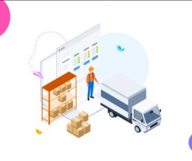 Cargo management cartoon vector