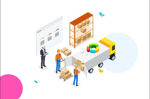 Cargo transportation management cartoon vector
