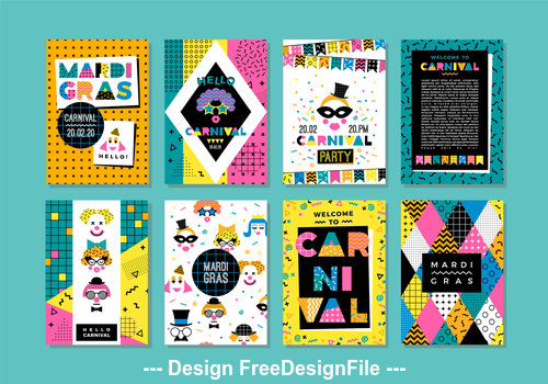 Carnival Templates in Memphis Style Collection Banner vector
