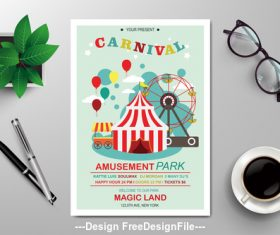 Carnival subjects flyers vector