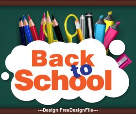 Cartoon Back to school cover vector
