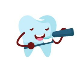Cartoon Brush your teeth expression vector